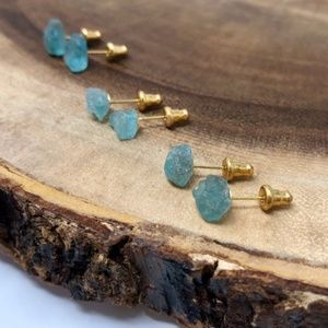 NEW!! Raw Aquamarine Crystal Earrings